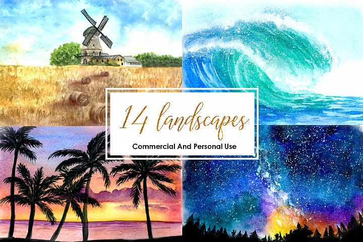 Watercolor Landscape Bundle Watercolor Beach Sunset Galaxy Texture Watercolor Farm Windmill