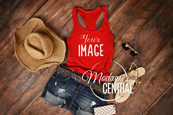 Womens Red Summer Tank Top Country Shirt JPG Mock Up