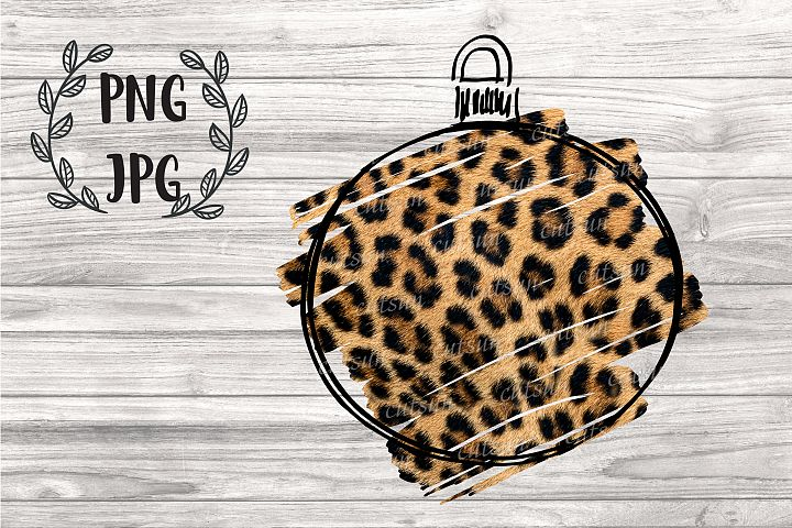 Christmas Ornament Leopard sublimation design