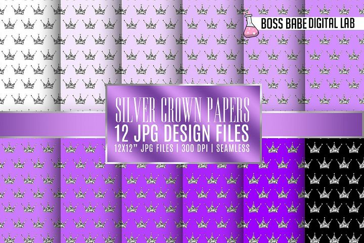 Seamless Purple and Silver Crown Papers