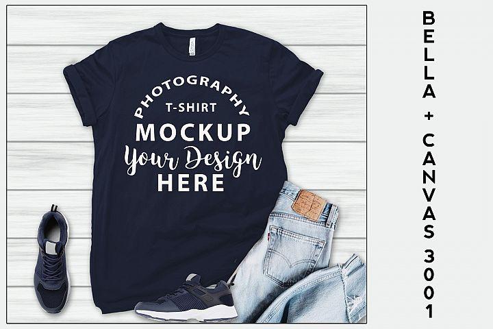 Bella Canvas 3001 T-shirt mock-up, color NAVY