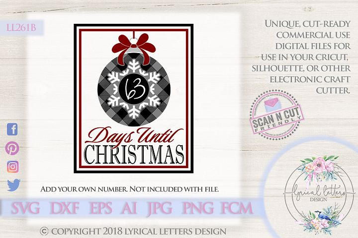 NEW! Buffalo Plaid Christmas Countdown SVG DXF FCM LL261B