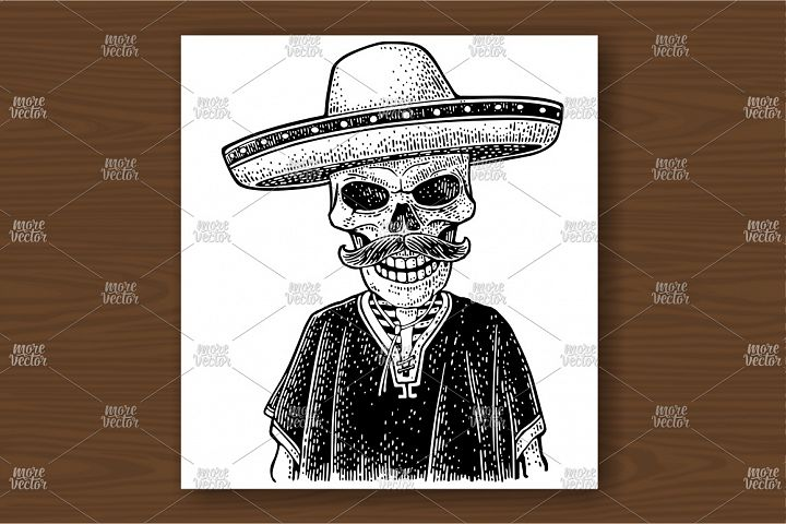 Skeleton dressed in the poncho, sombrero. Vector engraving