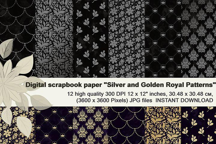 Silver and Golden Royal patterns, Vegetable scrapbook paper.