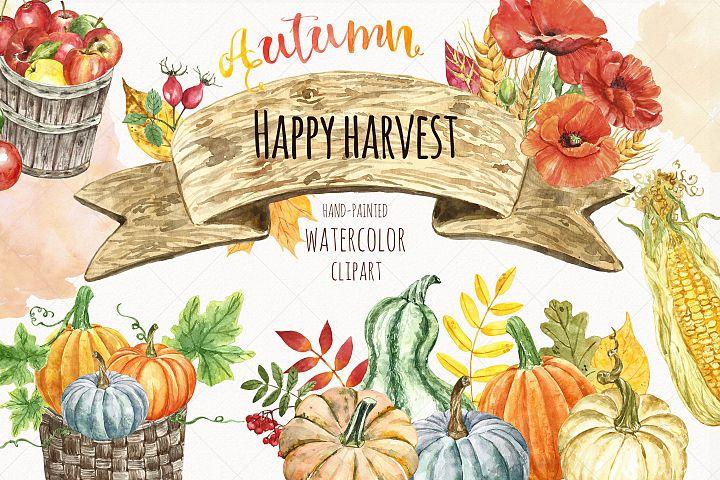 Watercolor Autumn Harvest Clipart Pumpkin patch Thanksgiving