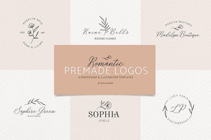 Romantic feminine premade logo bundle templates