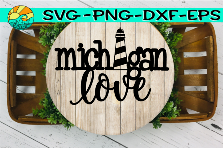 Michigan Love - Lighthouse - Welded - SVG - PNG - EPS - DXF