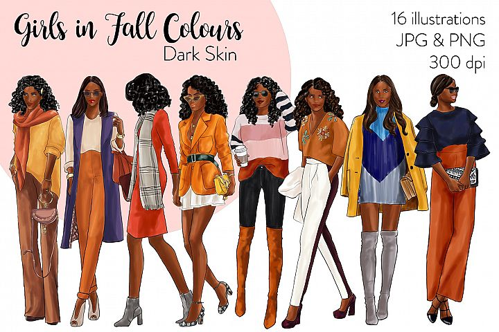 Fashion clipart - Girls in Fall Colours - dark skin