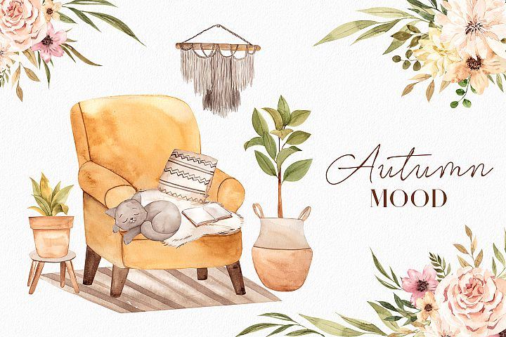 Autumn mood. Watercolor collection