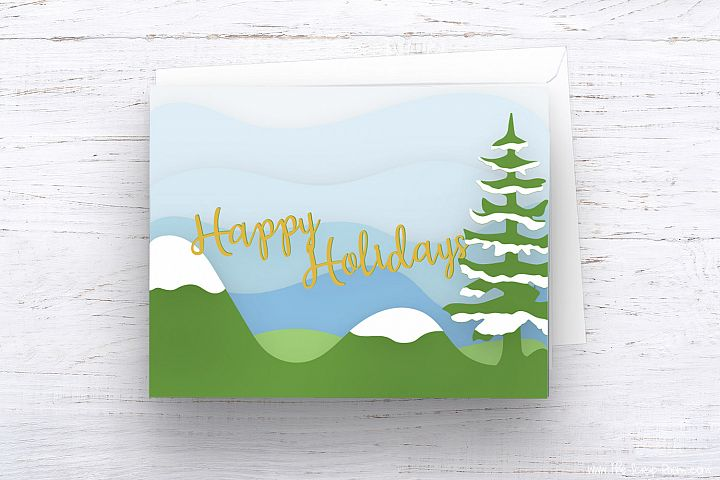 Christmas Card Template #3-Cut files and printable template