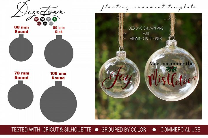 Floating Ornament Template inserts SVG DXF and PSD format