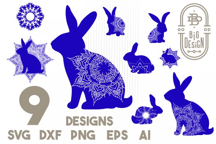 Bunny Mandala SVG Bundle - Monogram Mandala SVG, Mandala DXF