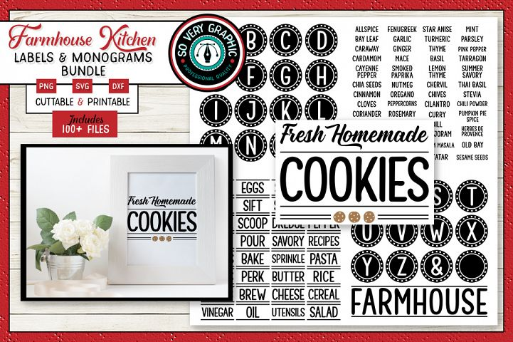 Farmhouse Kitchen Labels Bundle | Canister Pantry Decals SVG