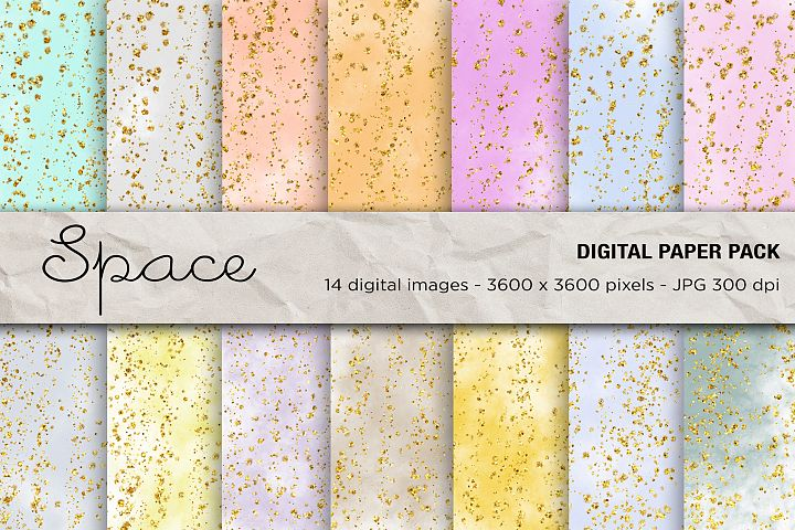 Space Digital Paper, Glitter Space Digital Paper