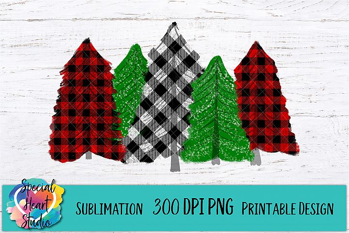 Christmas Sublimation - Buffalo Plaid Trees - 300 DPI PNG