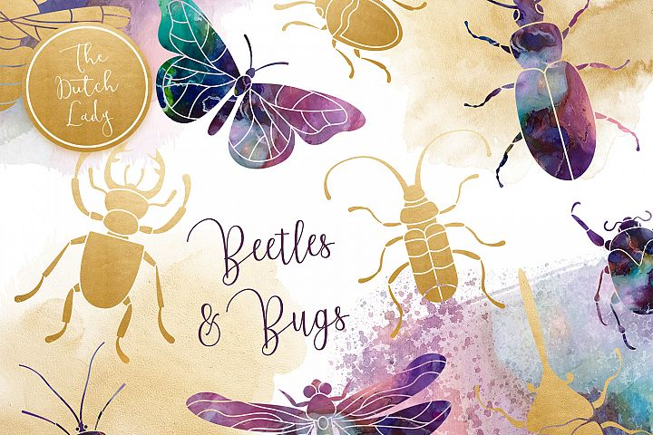 Beetles & Bugs Clipart Set