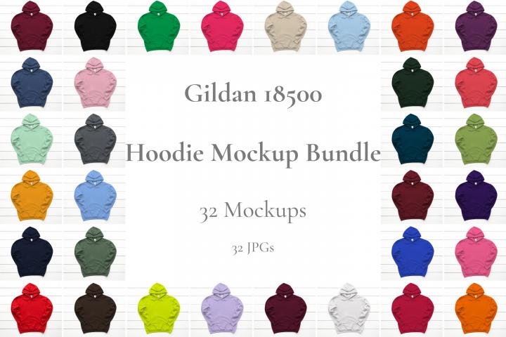Hoodie Mockup Bundle Gildan 18500 Basic hoodie mockups