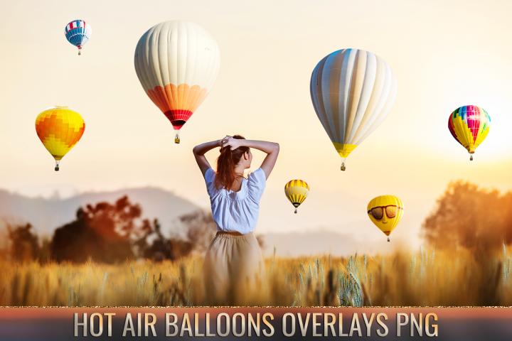 36 Hot air balloon Photo Overlays, aerostat png photoshop