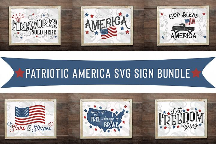 Patriotic America svg sign bundle, Memorial Day July 4th svg