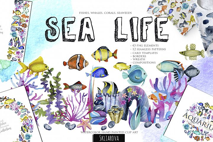 Sea life. Watercolor clip art.
