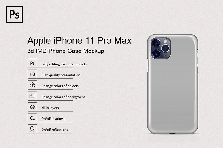 Apple iPhone 11 Pro Max 3d IMD Phone Case Mockup Back View