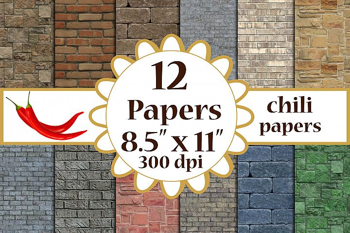 Brick Digital Paper, Brick textures, Brick Wall Backdrops A4