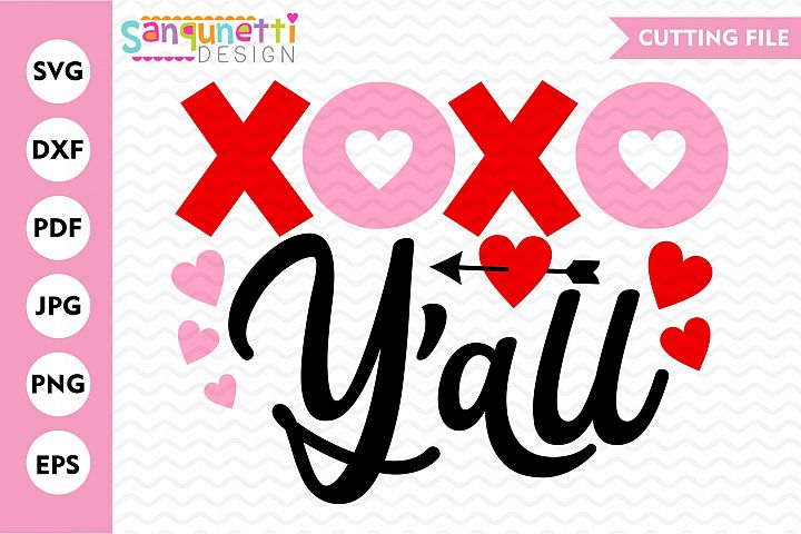 XOXO Yall Valentine SVG, love and hearts cutting file