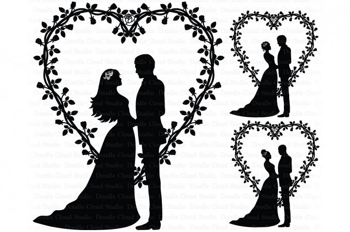 Wedding Heart, Bride and Groom SVG, Wedding Clipart.