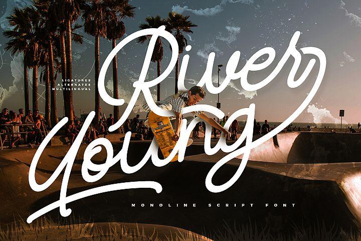 River Young | Monoline Script Font
