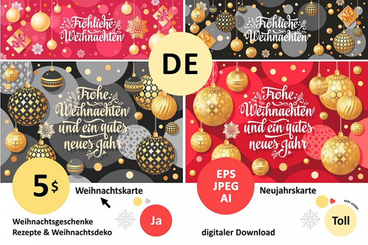 German Christmas and New year card. Frohe Weihnachten
