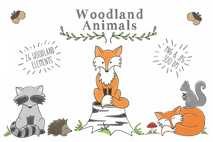 Woodland Animal Clipart Set - Free Design of The Week Font