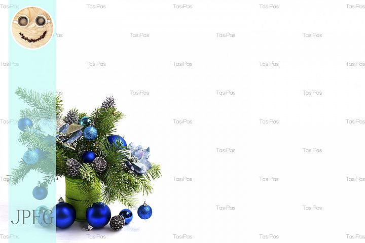 Christmas centerpiece with silk poinsettias, copy space
