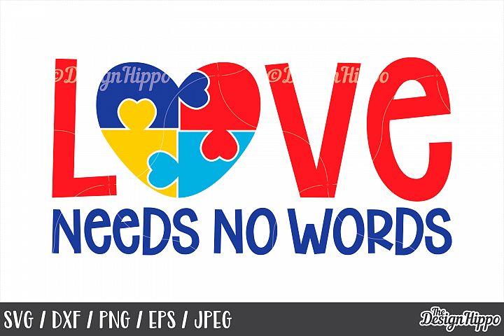 Autism Awareness, Love Needs No Words, Puzzle Piece, SVG DXF