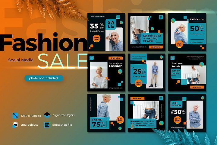 Fashion Sale Social Media template Lush Lava theme 2