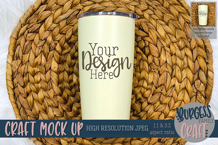 Stainless steel tumbler Craft mock up |High Resolution JPEG