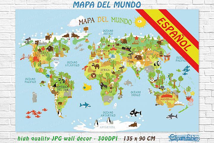 Cute ESPANOL WORLD MAP for kids - gender neutral room art