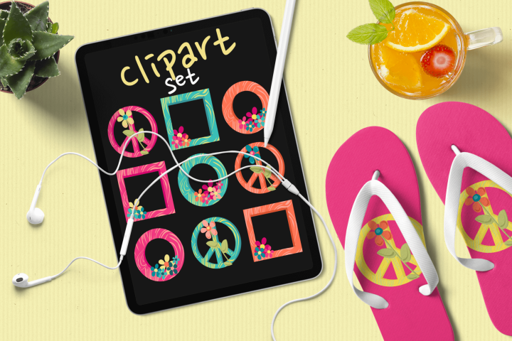 Hippie Frames with Flowers Clipart Set of 18 PNG files