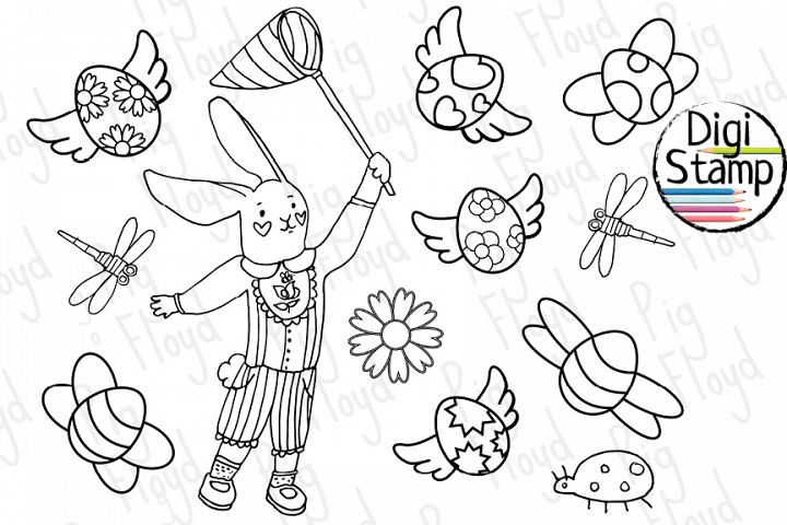 Bunny black outline, Coloring page, Eggs Butterfly Coloring
