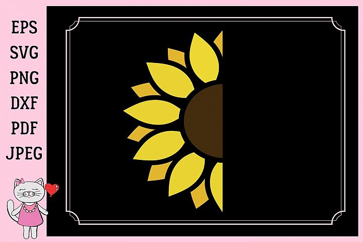 Half of a sunflower, svg, dxf, png, jpg, pdf
