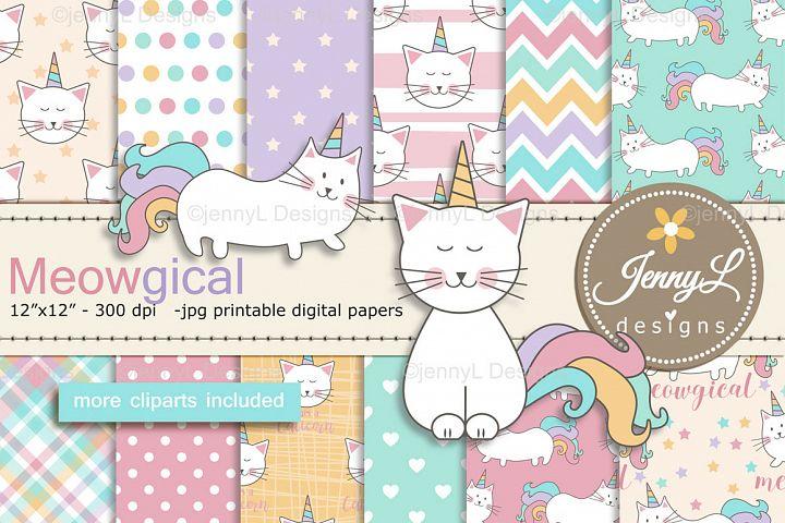 Caticorn Cat Unicorn Digital Papers and Cat Clipart SET