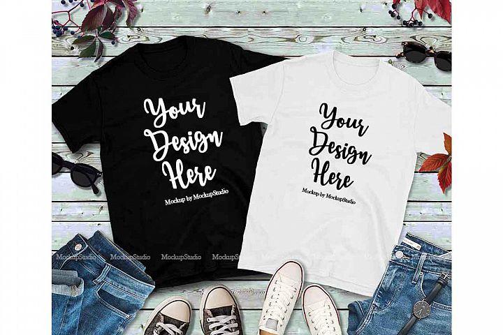Matching Couples Black T-Shirts Mockup, White Shirt Mock Up