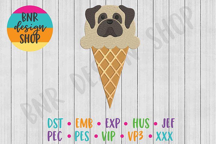 Dog Ice Cream Machine Embroidery Design