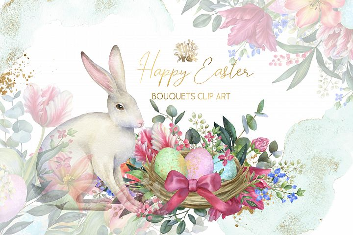 Watercolor Easter borders with bunny, spring tulip flower
