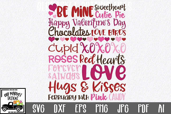 Valentines Day Subway Art SVG Cut File - SVG EPS DXF PNG