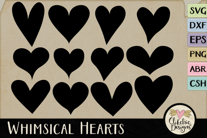Whimsical Hearts SVG & DXF Cutting files, Photoshop Brushes