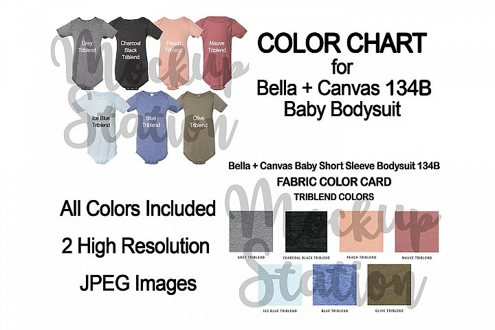 Color Chart for Bella Canvas 134B Baby Bodysuit Mockup