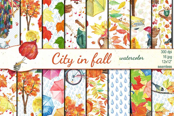 Watercolor City in fall seamless patterns