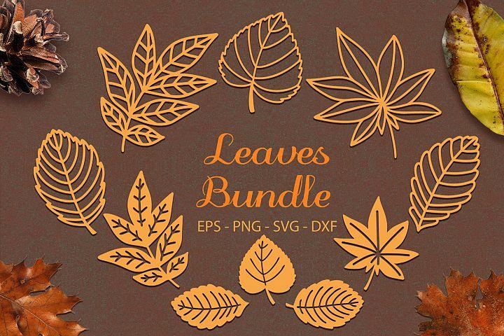 Autumn Leaves Bundle svg png dxf eps - Autumn Leaf Paper Cut
