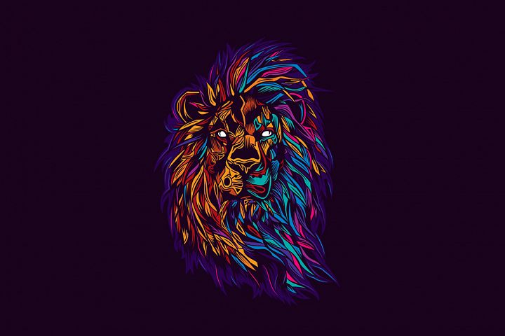 Lion in neon style.