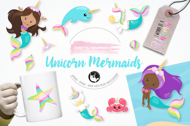 unicorn mermaid graphics and illustrations